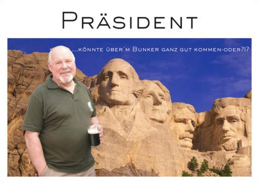 """In einer Reihe mit Washington, Lincoln & Co. – eine der (Spaß-)Collagen für den """"Lieblingspräsidenten"""" Ackermann… -Collage: Bernd Haas"""