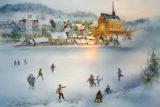 Wieder einmal eine richtig winterlich-heimelige Ansicht: Auch in diesem Jahr hat die Küllenhahner Malerin Ulrike Beyer das Motiv des Leo-Adventskalenders Wuppertal gestaltet.