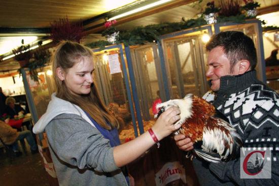 Die Cronenberger Zuchtschau bot auch wieder die Gelegenheit, rassige Hühner mal streicheln zu dürfen. -Foto: Meinhard Koke