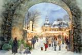 Eine Ansicht des Lüntenbecker Weihnachtsmarktes der Küllenhahner Künstlerin Ulrike Beyer ziert den Leo-Adventskalender 2019.